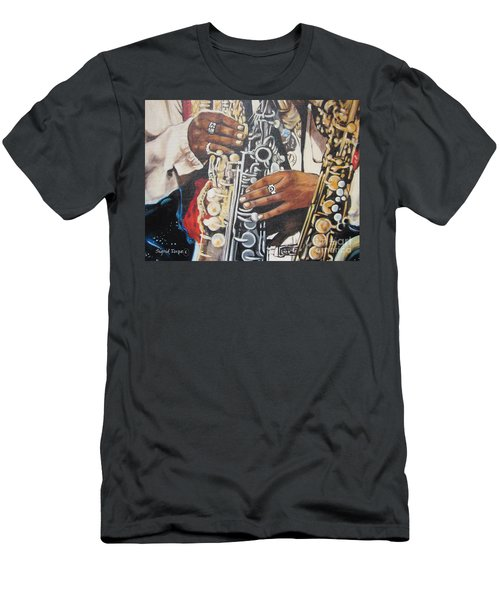 Blaa Kattproduksjoner        Hands Of Music - 2 Men's T-Shirt (Athletic Fit)