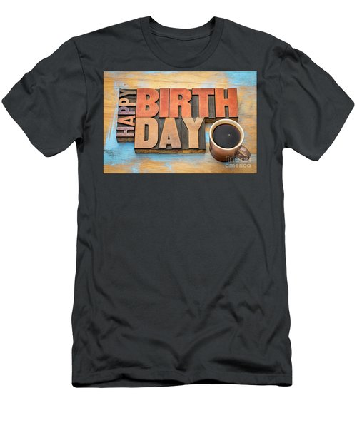 Happy Birthday Greeting Card In Wood Type  Men's T-Shirt (Athletic Fit)
