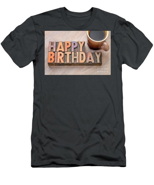 Happy Birthday Greetings Card In Wood Type Men's T-Shirt (Athletic Fit)