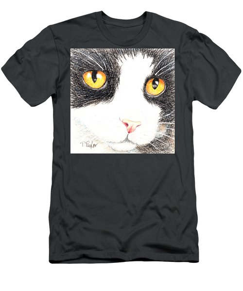 Happy Cat With The Golden Eyes Men's T-Shirt (Slim Fit) by Terry Taylor