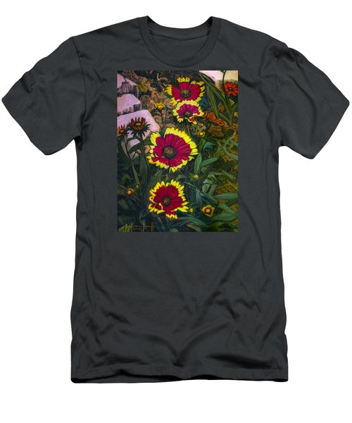 Men's T-Shirt (Slim Fit) featuring the painting Happy Faces by Ron Richard Baviello