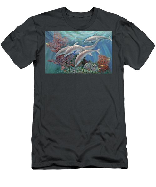 Happy Family - Dolphins Are Awesome Men's T-Shirt (Athletic Fit)