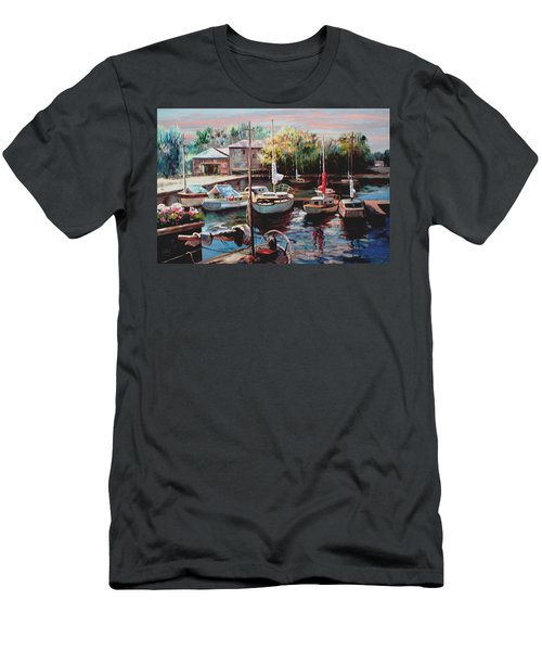 Harbor Sailboats At Rest Men's T-Shirt (Slim Fit) by Ron Chambers
