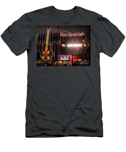 Hard Rock Cafe Las Vegas Strip At Night Men's T-Shirt (Slim Fit) by RicardMN Photography