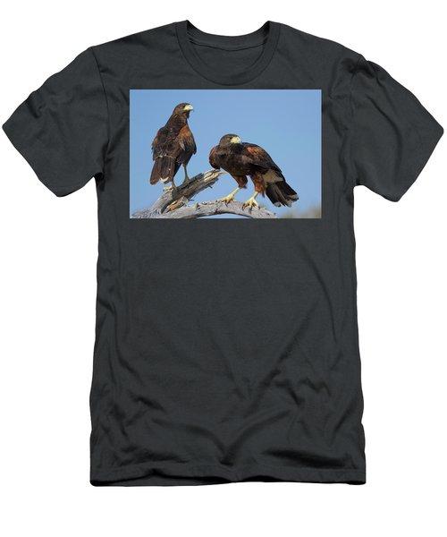 Men's T-Shirt (Slim Fit) featuring the photograph Harris Hawks by Elvira Butler
