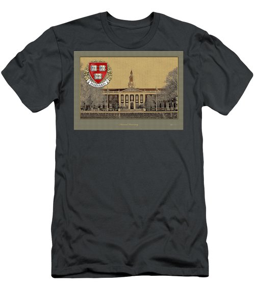 Harvard University Building With Seal Men's T-Shirt (Athletic Fit)