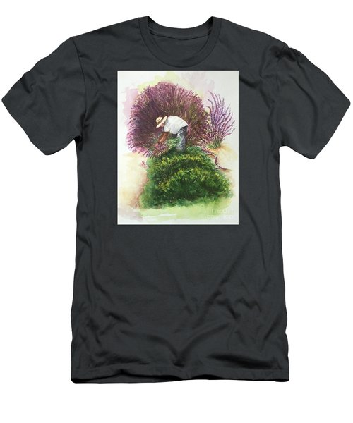Harvesting Lavender Men's T-Shirt (Slim Fit) by Lucia Grilletto