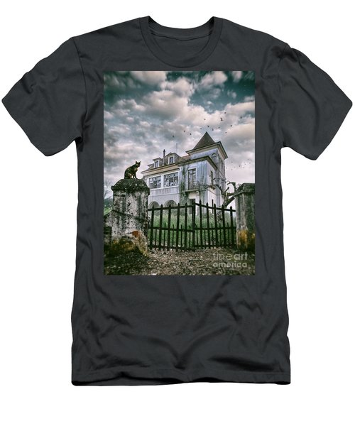 Haunted House And A Cat Men's T-Shirt (Athletic Fit)