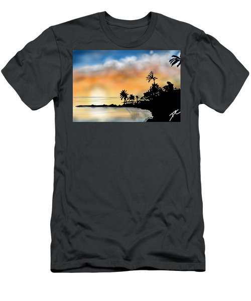 Hawaii Beach Men's T-Shirt (Slim Fit) by Darren Cannell