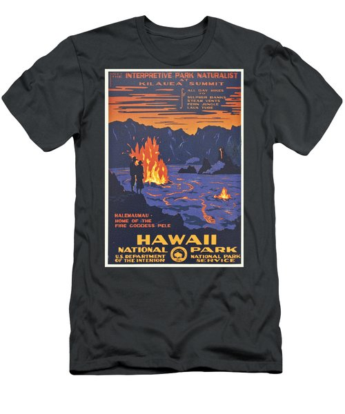 Hawaii Vintage Travel Poster Men's T-Shirt (Slim Fit) by Georgia Fowler