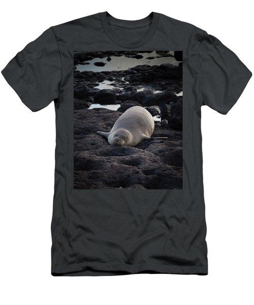 Hawaiian Monk Seal Men's T-Shirt (Slim Fit) by Roger Mullenhour