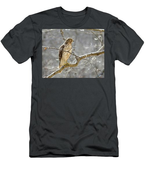 Men's T-Shirt (Slim Fit) featuring the photograph Hawk On Lookout by George Randy Bass