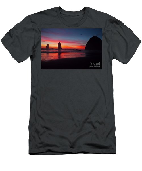 Haystack Rock At Sunset 2 Men's T-Shirt (Athletic Fit)