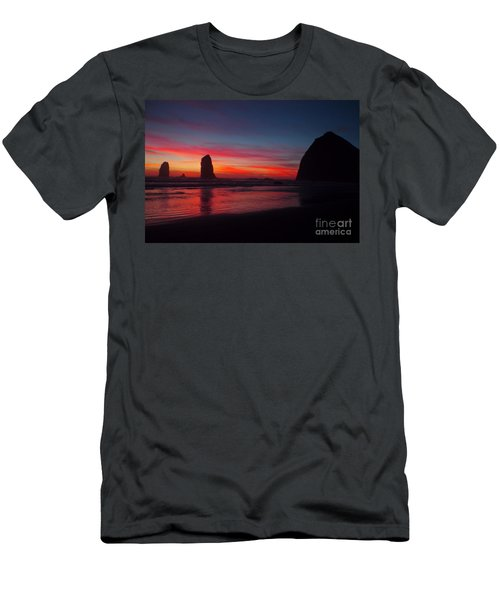 Haystack Rock At Sunset Men's T-Shirt (Athletic Fit)