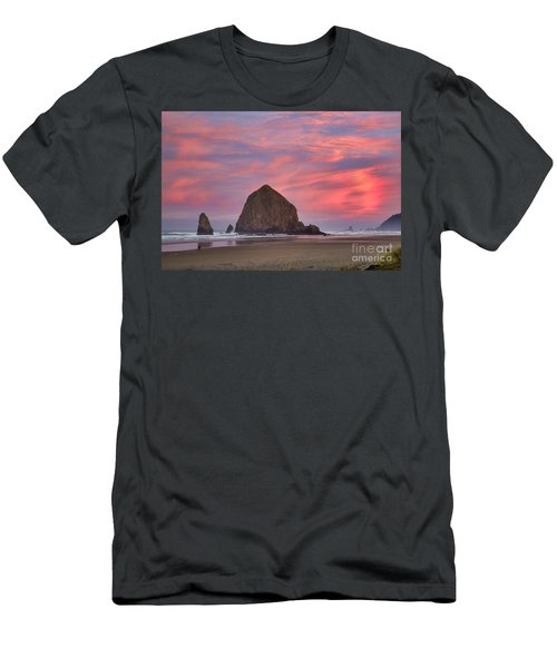 Haystack Rock- First Light Men's T-Shirt (Athletic Fit)