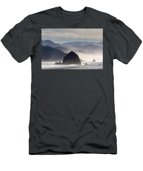 Haystack Rock On The Oregon Coast In Cannon Beach Men's T-Shirt (Athletic Fit)