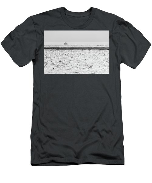 Hazy Car Ferry Coming Into Port At Ludington Men's T-Shirt (Athletic Fit)