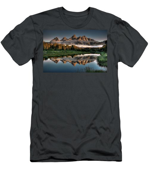 Hazy Reflections At Scwabacher Landing Men's T-Shirt (Slim Fit) by Ryan Smith