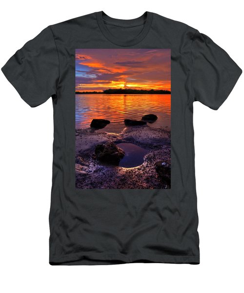 Heart Shaped Pool At Sunset Over Lake Worth Lagoon On Singer Island Florida Men's T-Shirt (Athletic Fit)