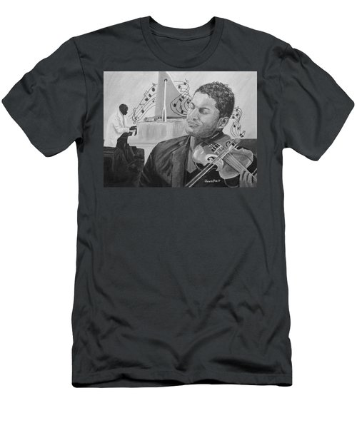 Men's T-Shirt (Slim Fit) featuring the painting Heavenly Music by Quwatha Valentine