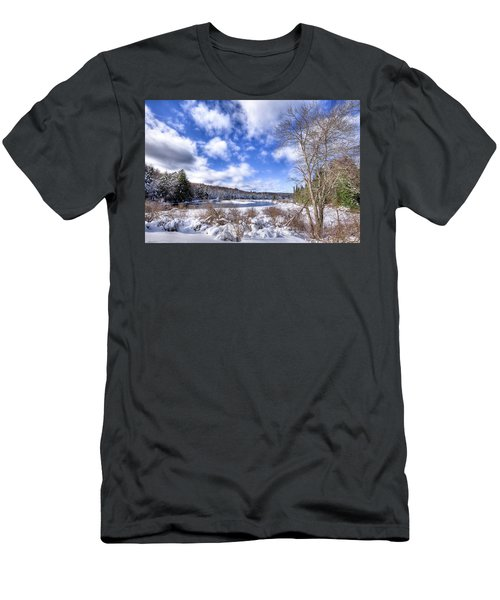 Men's T-Shirt (Slim Fit) featuring the photograph Heavy Snow At The Green Bridge by David Patterson