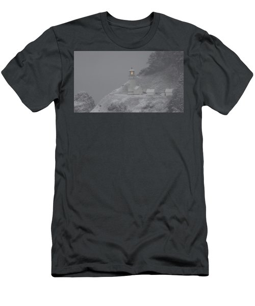 Heceta Lighthouse Snowstorm Men's T-Shirt (Athletic Fit)