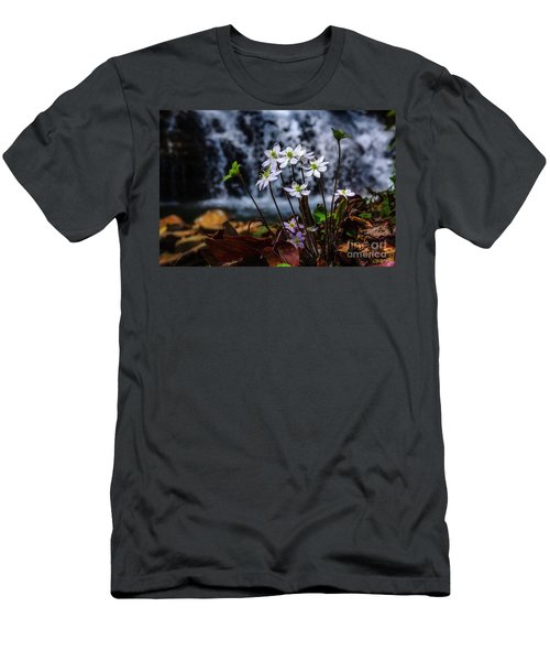Men's T-Shirt (Slim Fit) featuring the photograph Hepatica And Waterfall by Thomas R Fletcher
