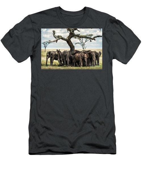 Herd Of Elephants Under A Tree In Serengeti Men's T-Shirt (Athletic Fit)