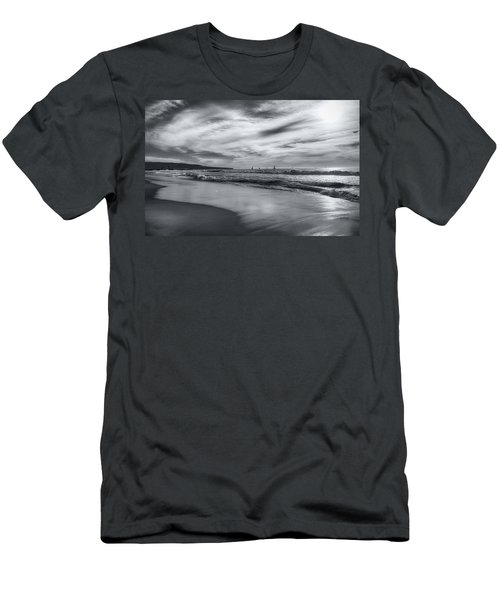 Men's T-Shirt (Athletic Fit) featuring the photograph Hermosa Evening Black And White by Michael Hope