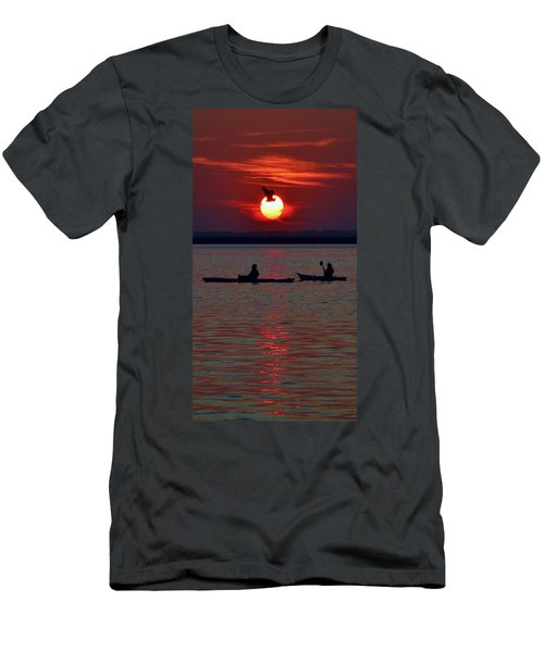 Heron And Kayakers Sunset Men's T-Shirt (Athletic Fit)