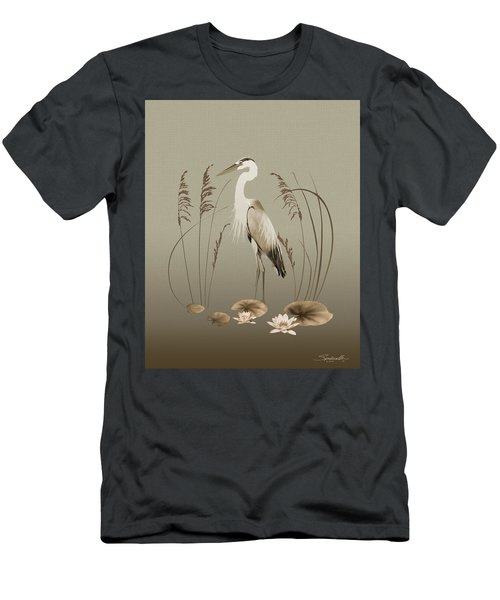 Heron And Lotus Flowers Men's T-Shirt (Athletic Fit)