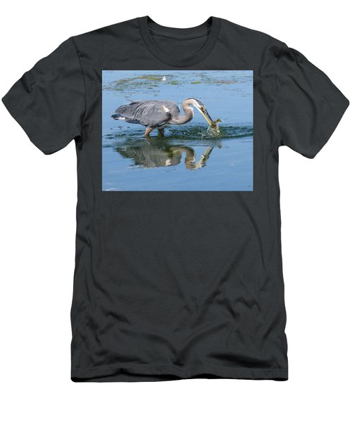 Great Blue Heron Catches A Fish Men's T-Shirt (Slim Fit) by Keith Boone