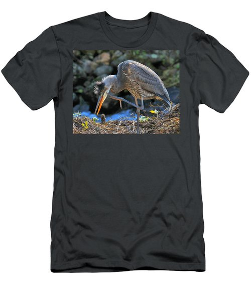 Men's T-Shirt (Athletic Fit) featuring the photograph Heron Scratch by Debbie Stahre