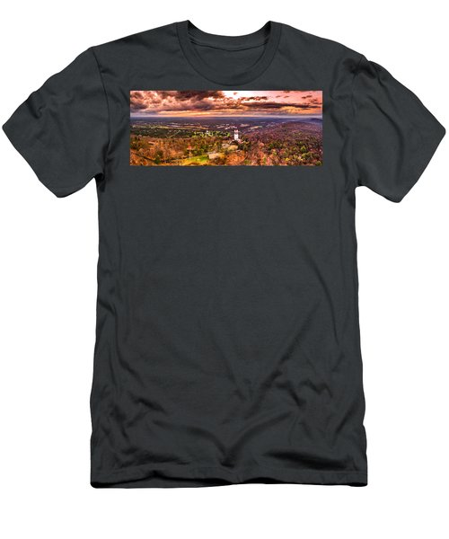 Heublein Tower, Simsbury Connecticut, Cloudy Sunset Men's T-Shirt (Athletic Fit)