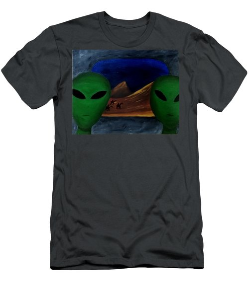 Men's T-Shirt (Slim Fit) featuring the painting Hey Bob, I Think They Are Following Us.. by Lola Connelly
