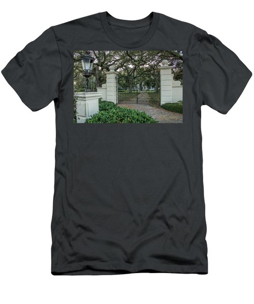 Men's T-Shirt (Slim Fit) featuring the photograph Heyman House Gates by Gregory Daley  PPSA