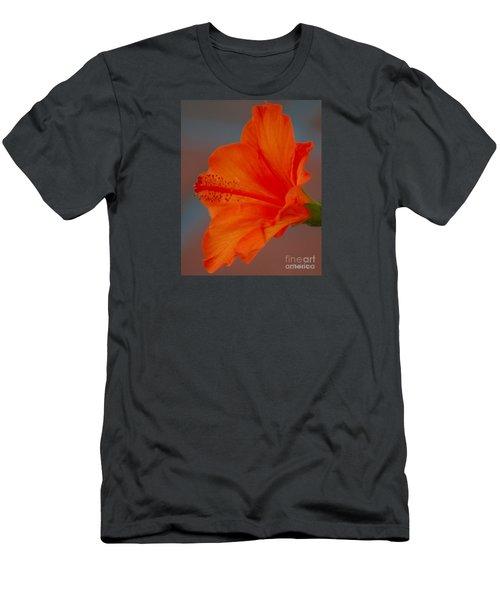 Hot Orange Hibiscus Men's T-Shirt (Athletic Fit)
