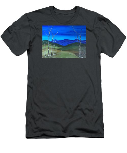 Men's T-Shirt (Slim Fit) featuring the painting Hill View by Pat Purdy