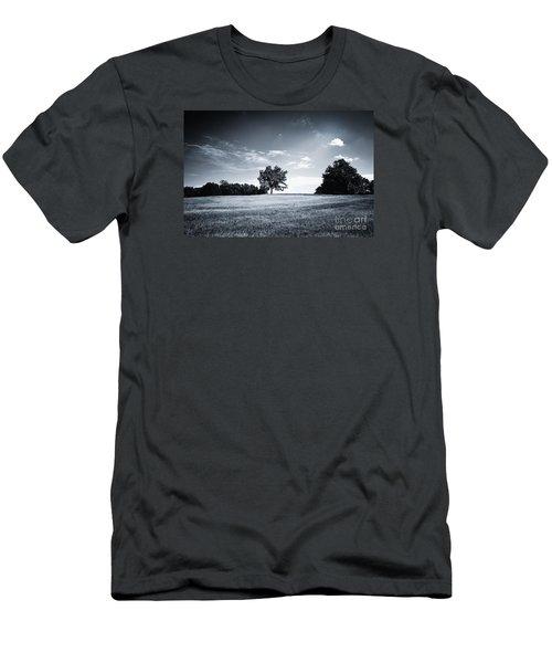 Hilly Black White Landscape Men's T-Shirt (Athletic Fit)