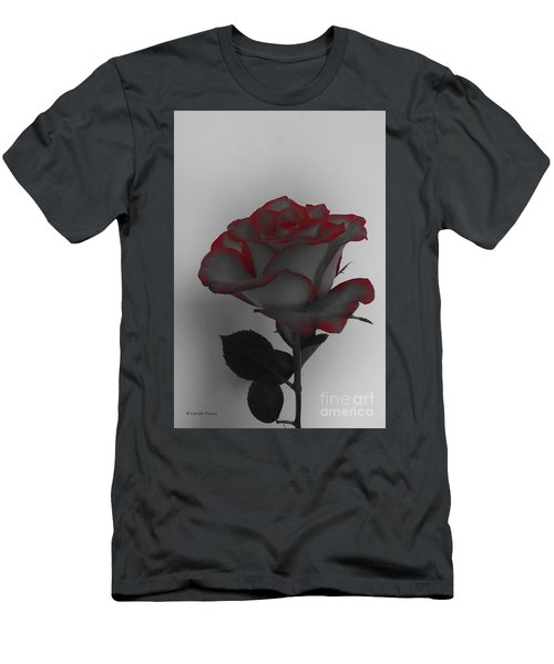 Hints Of Red- Single Rose Men's T-Shirt (Athletic Fit)