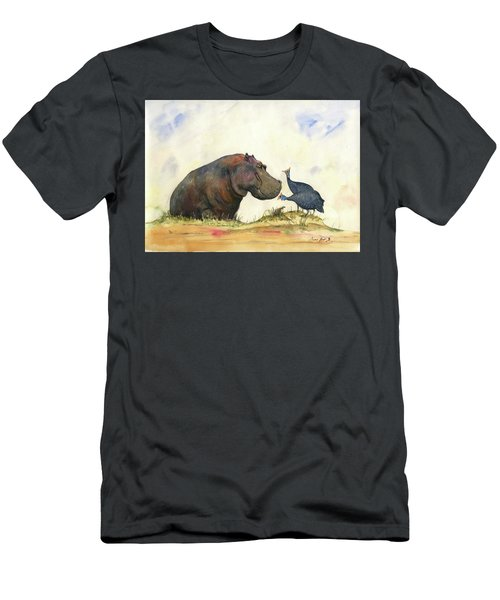 Hippo With Guinea Fowls Men's T-Shirt (Athletic Fit)