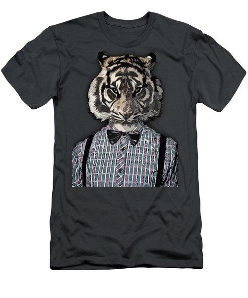 Hipster Tiger  Plaid Shirt Vintage Dictionary Art Beatnik Art Men's T-Shirt (Athletic Fit)