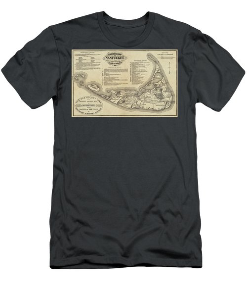 Historical Map Of Nantucket From 1602-1886 Men's T-Shirt (Athletic Fit)
