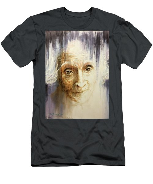 Men's T-Shirt (Slim Fit) featuring the painting Histories And Memories Of Ancestral Light 3 by J- J- Espinoza