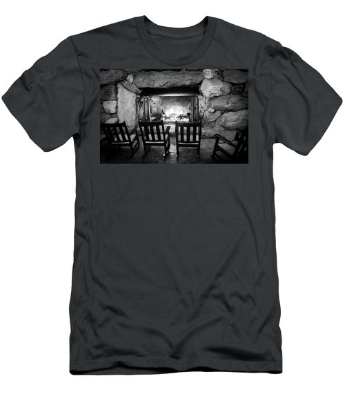 Men's T-Shirt (Slim Fit) featuring the photograph Winter Warmth In Black And White by Karen Wiles