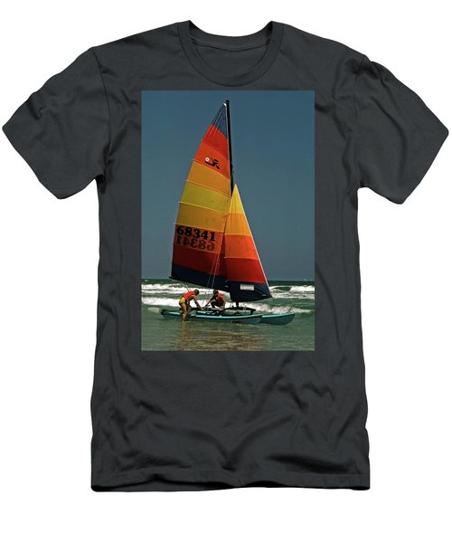 Men's T-Shirt (Slim Fit) featuring the photograph Hobie Cat In Surf by Sally Weigand