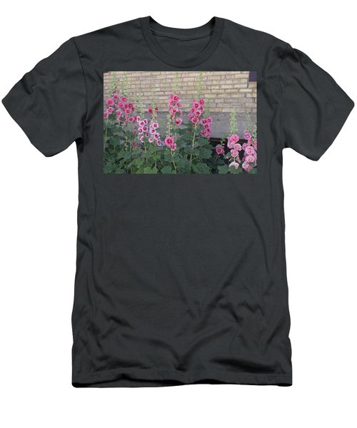 Men's T-Shirt (Slim Fit) featuring the photograph Hollyhocks by Cynthia Powell