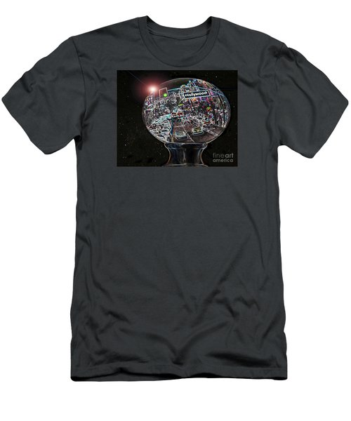 Men's T-Shirt (Slim Fit) featuring the photograph Hollywood Dreaming - Oblong Globe by Cheryl Del Toro