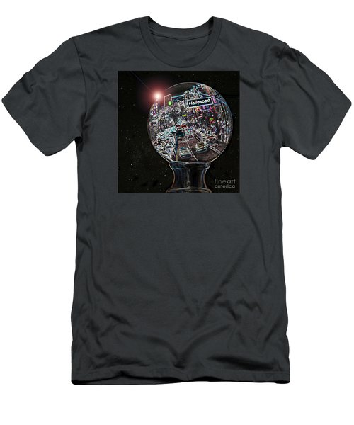 Men's T-Shirt (Slim Fit) featuring the photograph Hollywood Dreaming - Square Globe by Cheryl Del Toro