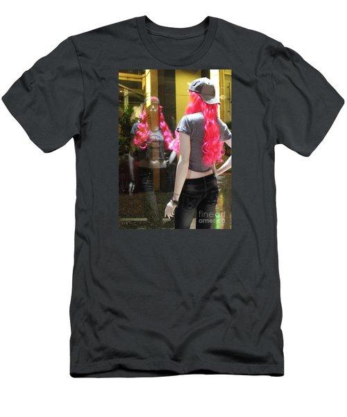 Hollywood Pink Hair In Window Men's T-Shirt (Slim Fit) by Cheryl Del Toro